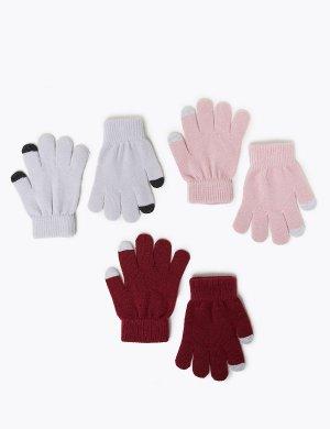 Перчатки для девочки с функцией Touchscreen (3 пары) Marks & Spencer. Цвет: роза