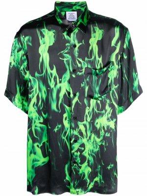 Рубашка с короткими рукавами и принтом VETEMENTS. Цвет: зеленый