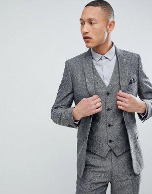 Серый приталенный пиджак с шевронным узором French Connection