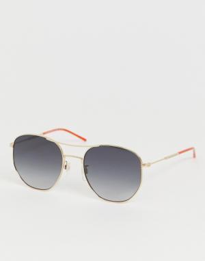 Круглые солнцезащитные очки в золотистой оправе -Золотой Tommy Hilfiger