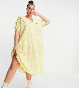 Платье миди в клетку с присборенной ярусной юбкой и большим воротником -Желтый Neon Rose Plus