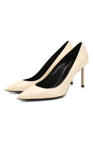 Кожаные туфли Anja Saint Laurent. Цвет: кремовый