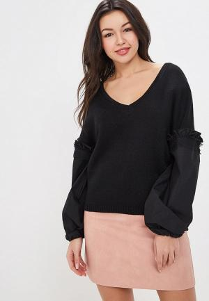 Пуловер Lost Ink V NECK WOVEN SLEEVE JUMPER. Цвет: черный