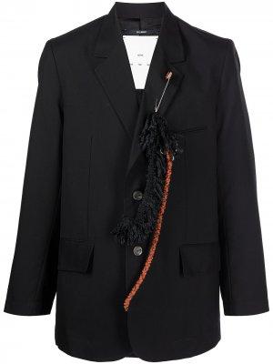 Габардиновый однобортный пиджак Drape Song For The Mute. Цвет: черный