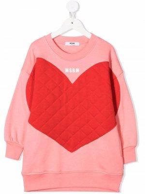 Heart-print sweatshirt dress MSGM Kids. Цвет: розовый