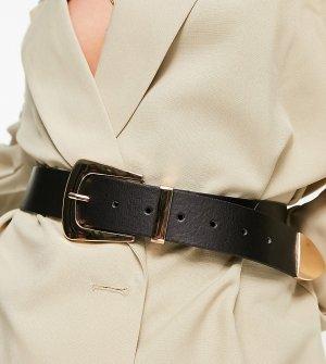 Эксклюзивный широкий ремень черного цвета с золотистой фурнитурой для блейзера -Черный Glamorous