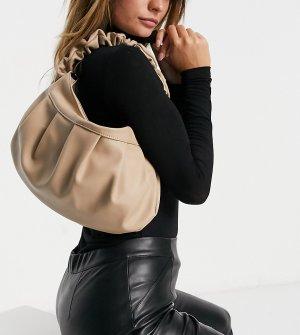 Бежевая сумка на плечо с присборенной ручкой Exclusive-Бежевый Glamorous