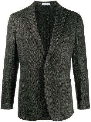 Пиджак с узором в елочку Boglioli. Цвет: зеленый