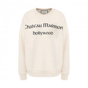 Хлопковый пуловер Gucci. Цвет: бежевый
