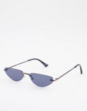 Серебристые модные очки без оправы с дымчатыми стеклами -Серебристый ASOS DESIGN