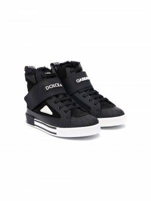 Shearling-trim high-top sneakers Dolce & Gabbana Kids. Цвет: черный