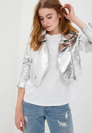 Куртка кожаная Silvian Heach. Цвет: серебряный