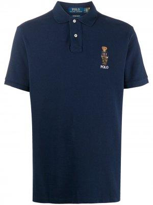 Рубашка поло Preppy Bear с вышивкой Polo Ralph Lauren. Цвет: синий