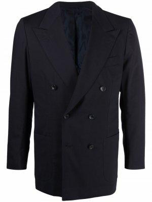 Двубортный пиджак Kiton. Цвет: синий