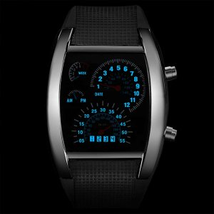 Мужские электронные часы с резиновым ремешком SHEIN