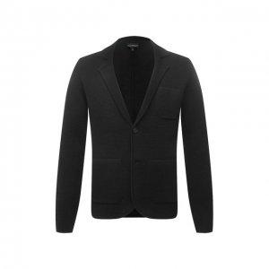 Шерстяной пиджак Emporio Armani. Цвет: серый