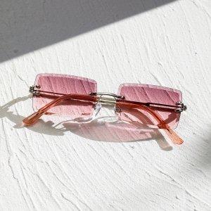 Мужские квадратные солнцезащитные очки без оправы SHEIN. Цвет: пурпурный