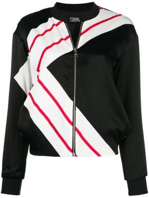 Куртка-бомбер K-Stripe Karl Lagerfeld. Цвет: черный