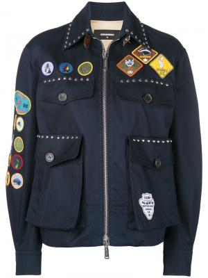 Куртка-бомбер с заплатками Dsquared2. Цвет: синий