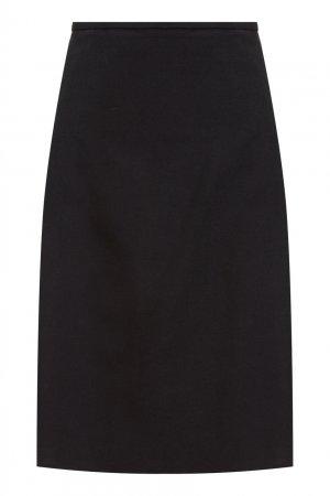 Черная шерстяная юбка Balenciaga. Цвет: черный