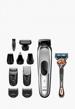 Набор Braun Машинка для стрижки MGK7221 + Бритва Gillette. Цвет: серый