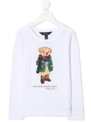 Свитер с длинными рукавами и принтом Teddy Bear Ralph Lauren Kids. Цвет: белый