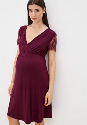 Платье домашнее Hunny mammy. Цвет: бордовый