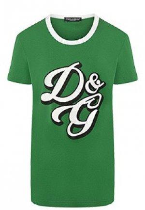 Футболка DOLCE&GABBANA. Цвет: зеленый