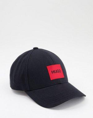 Черная бейсболка с контрастным блочным логотипом -Черный цвет HUGO