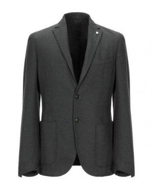 Пиджак LUIGI BIANCHI ROUGH. Цвет: темно-зеленый