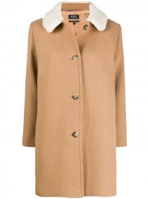 Однобортное пальто New Doll A.P.C.. Цвет: нейтральные цвета
