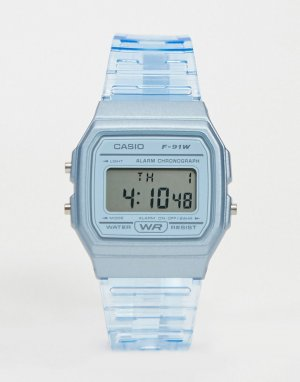 Цифровые часы в стиле унисекс с голубым ремешком F-91WS-2EF Unisex-Синий Casio