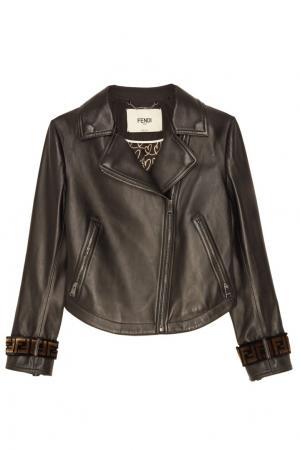 Короткая кожаная куртка с отделкой Fendi. Цвет: черный