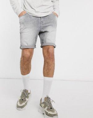 Серые джинсовые шорты скинни 12.5oz-Серый ASOS DESIGN