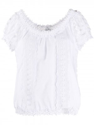 Кружевная блузка с короткими рукавами Charo Ruiz Ibiza. Цвет: белый