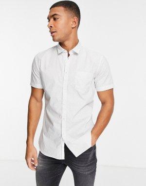Белая рубашка с короткими рукавами Magneton-Белый BOSS