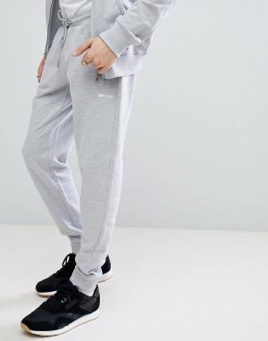 Серые меланжевые джоггеры узкого кроя Gio Goi. Цвет: серый