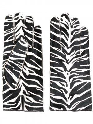 Перчатки с зебровым принтом Raf Simons. Цвет: черный