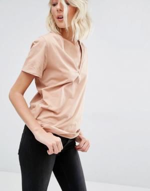 Розовая футболка с короткими рукавами и V-образным вырезом T Gat Rimon. Цвет: розовый