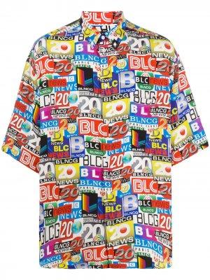 Рубашка с графичным принтом Balenciaga. Цвет: синий