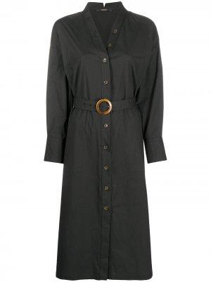 Платье-рубашка с поясом и V-образным вырезом Seventy. Цвет: черный