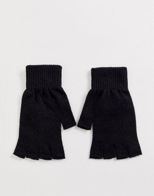 Черные перчатки без пальцев -Черный ASOS DESIGN