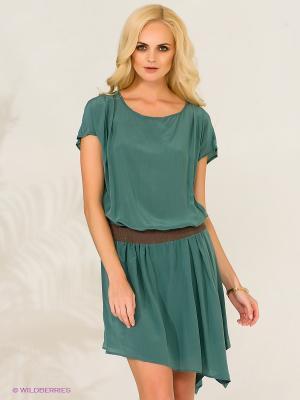Платье E-go. Цвет: зеленый, серый, коричневый