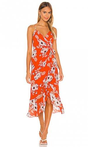 Платье миди loretta Bardot. Цвет: красный