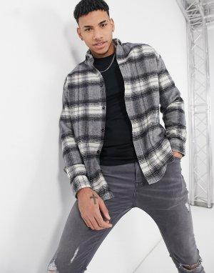 Серая oversized-рубашка в крупную клетку из ткани с добавлением шерсти стиле 90-х -Серый ASOS DESIGN