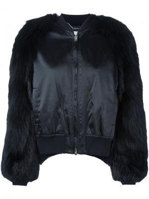 Куртка-бомбер с меховыми рукавами Givenchy. Цвет: чёрный