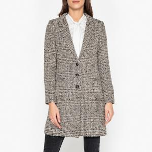 Пальто длинное из твида IKKS. Цвет: серый меланж