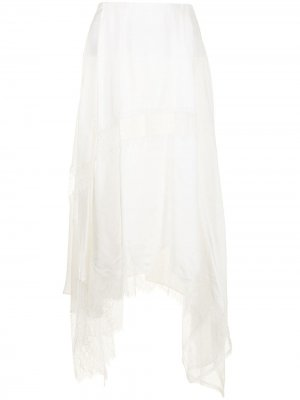 Кружевная юбка миди асимметричного кроя Goen.J. Цвет: белый