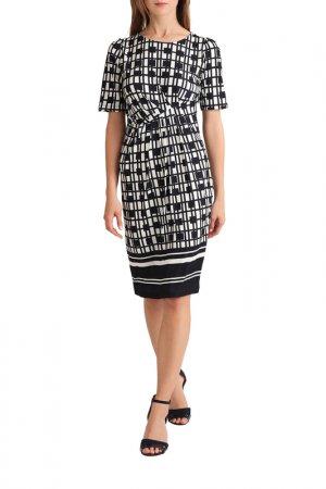 Трикотажное платье Apart. Цвет: темно-синий, кремовый