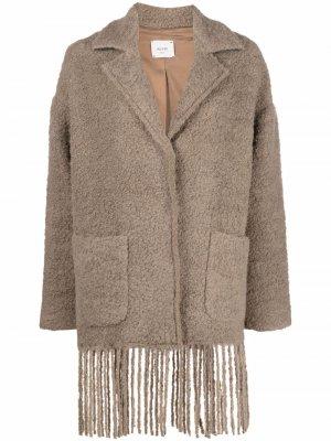 Пальто с бахромой Alysi. Цвет: коричневый